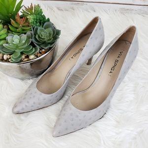 Via Spiga Grey Carola Ostrich Embossed Heels 8